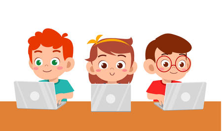 happy cute kids boy and girl using laptop vector Vektorové ilustrace