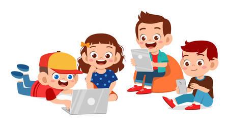 niños lindos felices niño y niña usando vector de tableta Ilustración de vector