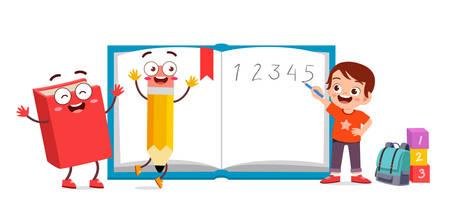 happy cute kid school with book and pencil vector