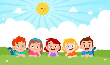 feliz, lindo, niño, niño, y, niña, acostado, en, pasto o césped, vector