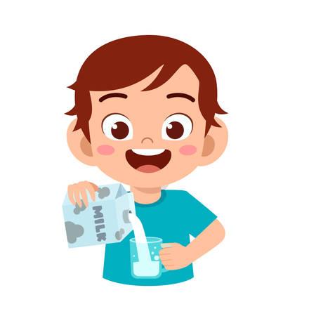 happy cute kid pour water to glass Vektorové ilustrace