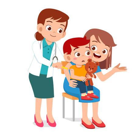 niño lindo feliz ir al médico con mamá Ilustración de vector