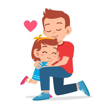 happy cute kid girl hugging dad love