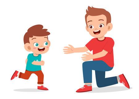 happy cute kid boy hugging dad love 向量圖像