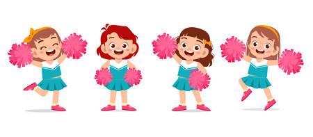 happy cute girl wear cheerleader cute uniform set