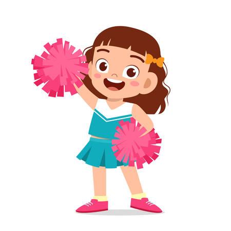 happy cute girl wear cheerleader cute uniform