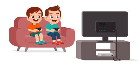 happy cute kid play video game together