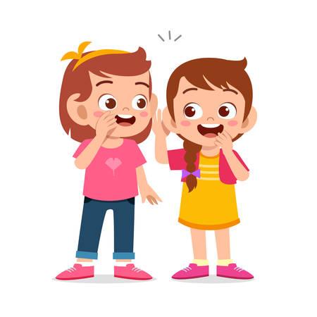 heureux enfants mignons filles parlent de secret