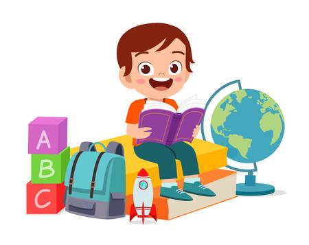 happy cute smart kid boy read book Vettoriali