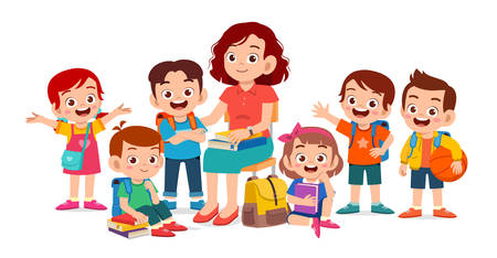 happy cute kids smile with teacher together 矢量图像