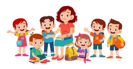 niños lindos felices sonríen con el maestro juntos Ilustración de vector