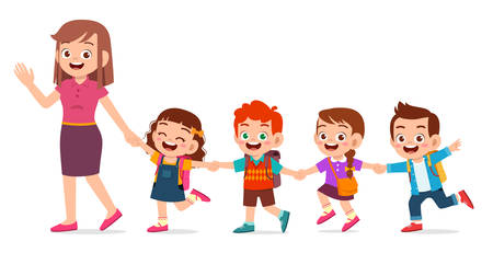happy cute kids smile with teacher together Ilustração