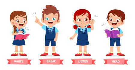 ensemble de méthodes d'apprentissage de base pour enfants mignons heureux Vecteurs