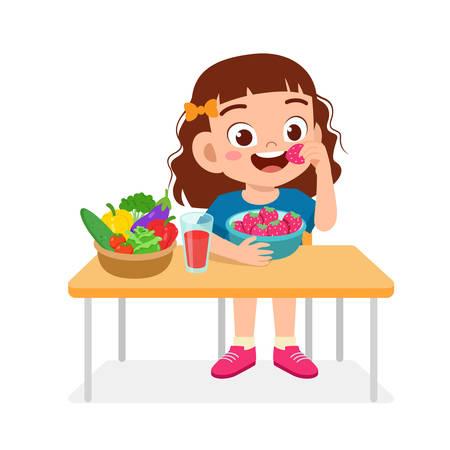 happy cute kid girl eat healthy food Vettoriali