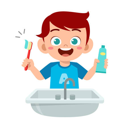 happy cute kid boy brush clean teeth