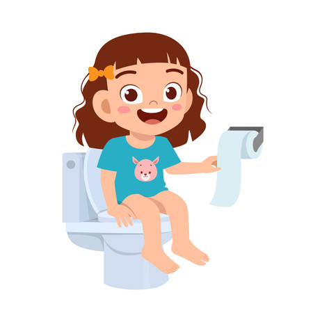 happy cute kid girl sit on the toilet