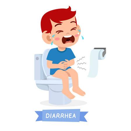 sad kid boy cry on the toilet Stock Illustratie