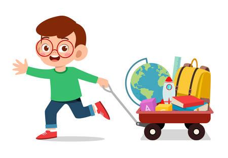 happy cute kid boy bring book to school Vetores