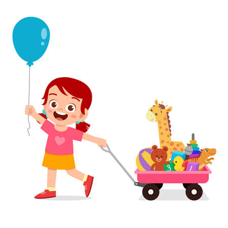 happy cute kid girl bring toy with wagon