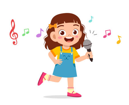 happy cute kid girl sing with smile