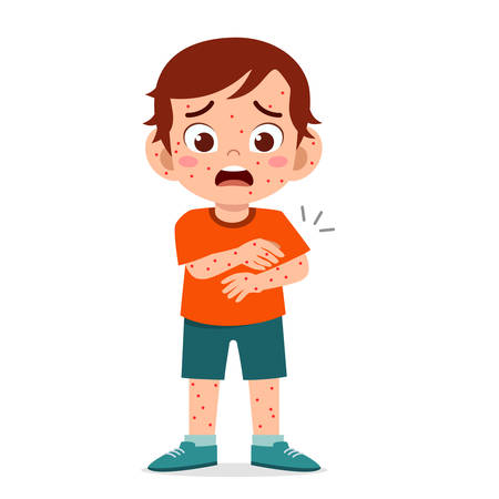 triste garçon mignon attraper la rougeole Vecteurs