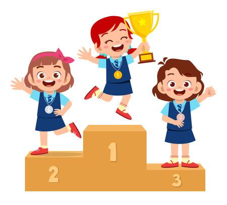 happy cute kid boy win on podium Vektoros illusztráció