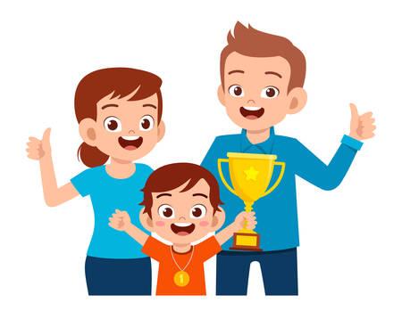 happy cute kid boy become first winner Vektoros illusztráció