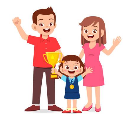 glückliches süßes Kind Mädchen wird erster Gewinner