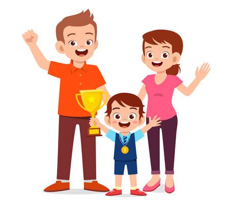 happy cute kid boy become first winner
