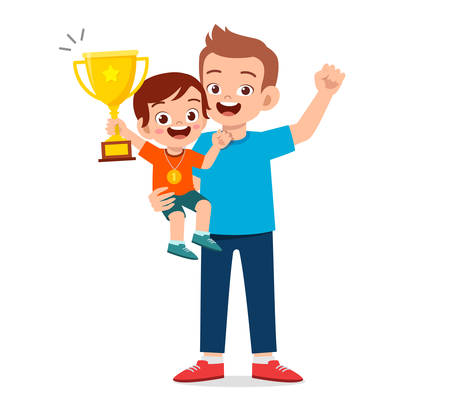 happy cute kid boy become first winner Ilustração Vetorial