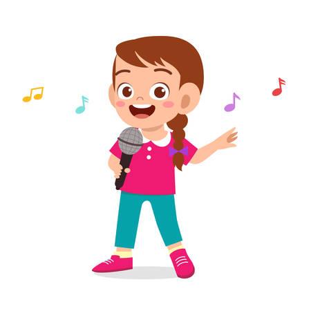 happy cute kid girl sing a song Vektoros illusztráció