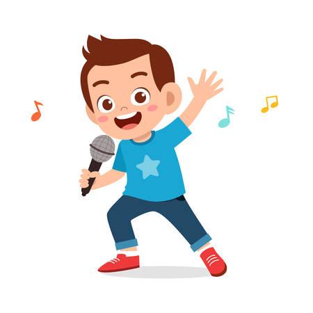 heureux garçon mignon enfant chanter une chanson Vecteurs