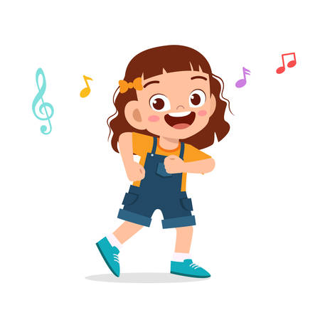 happy cute kid girl dance with music
