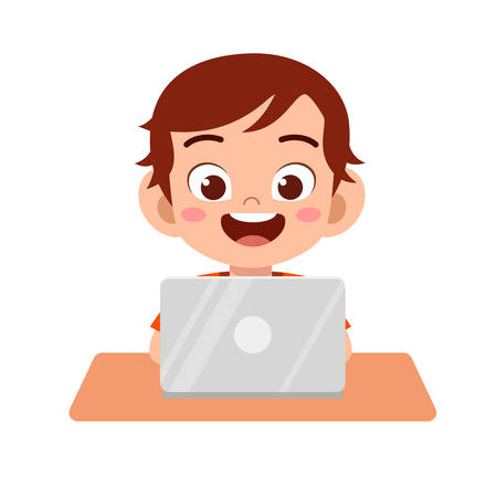 happy cute kid boy using laptop to do homework Ilustracja