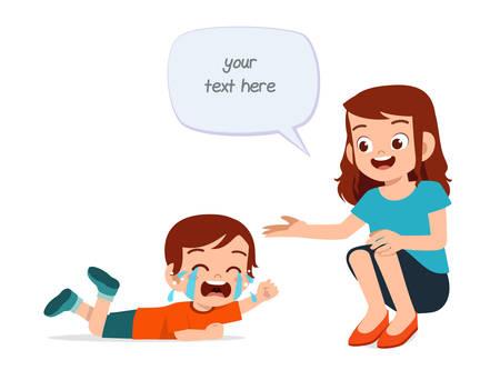 sad crying little kid boy with mom