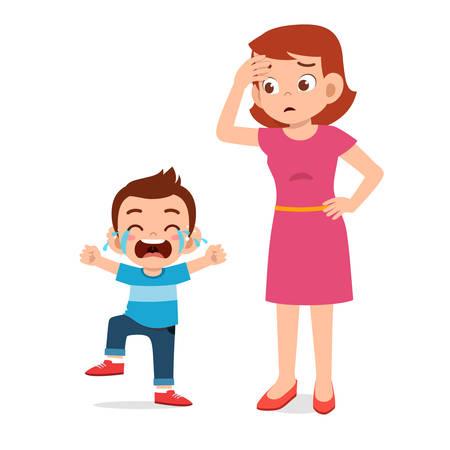 sad crying little kid girl with mom