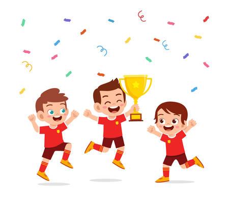 happy cute little kids boy win football