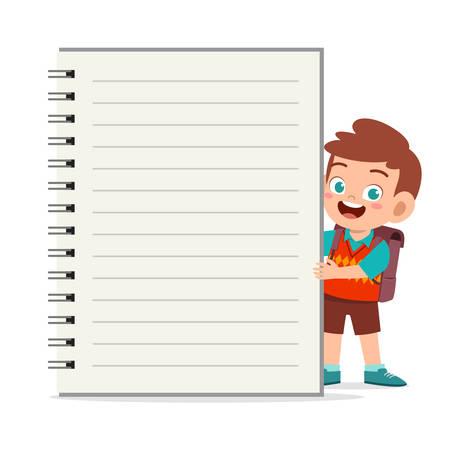 modèle de cahier heureux petit garçon enfant mignon Vecteurs