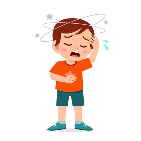 cartoon little kid boy get bad headache