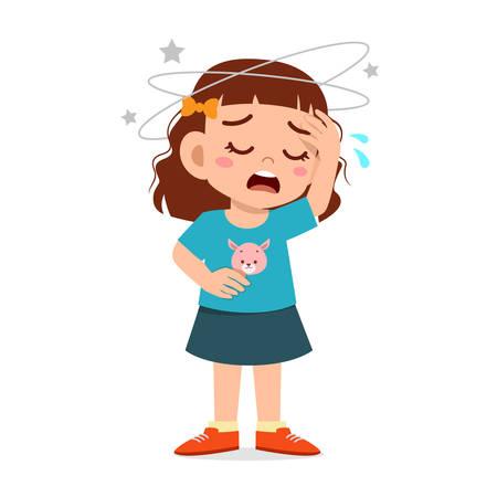 Cartoon kleines Mädchen bekommt starke Kopfschmerzen Vektorgrafik