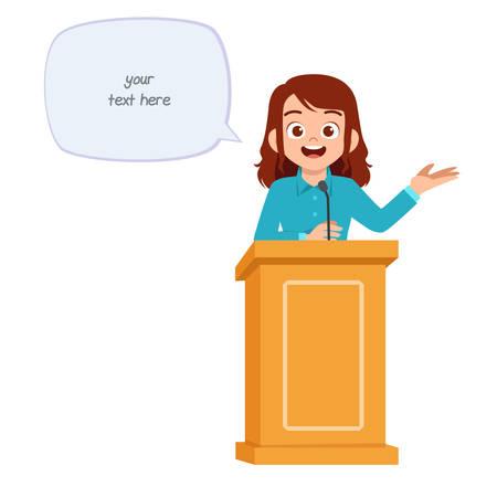 mujer joven dar un buen discurso en el podio
