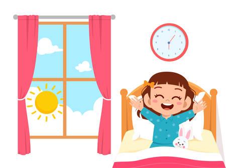 feliz, lindo, niño, niña, despertar