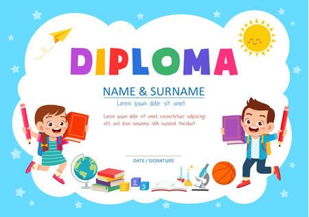 ładny szablon certyfikatu dyplomowego dla ucznia