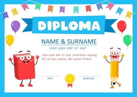 simpatico modello di certificato di diploma per studente di scuola Vettoriali