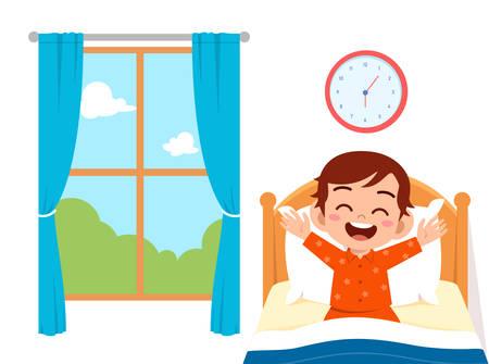 feliz lindo niño niño despierta por la mañana Ilustración de vector