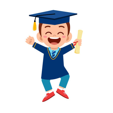 happy cute little kid boy graduate from school