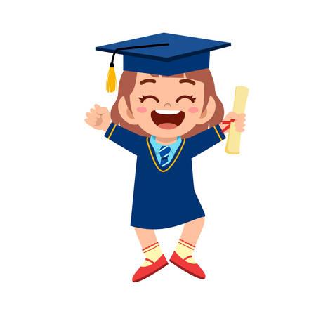 feliz linda niña graduada de la escuela Ilustración de vector