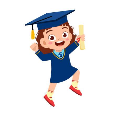 feliz linda niña graduada de la escuela