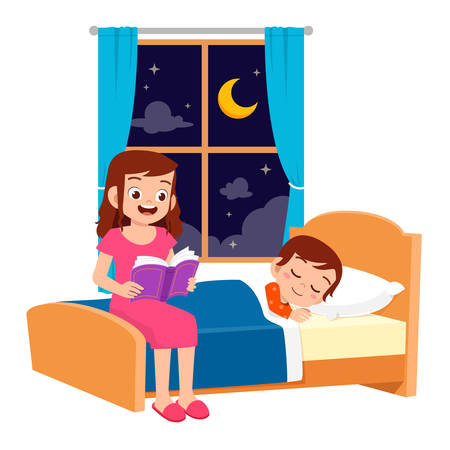 happy mom tell story in bed room to son