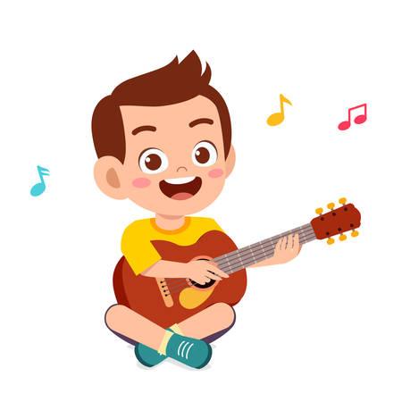 happy cute little kid boy play guitar Vector Illustration